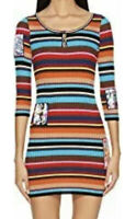 Jeremy Scott Fantasy Print Striped Ribbed Mini Dress Women's Size 42 53017