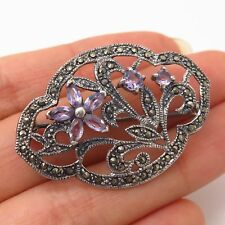 925 Sterling Silver Bp2492 Vintage Marcasite Cloud Of Swirls Brooch Pin