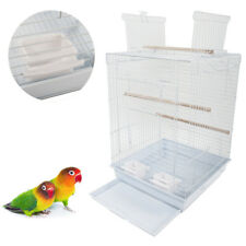 "23"" Portable Bird Cage Pet Supplies Metal Cage with Open Play Top White"