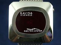 Vintage NOS Ravisa Electric System Jump Hour Digital Watch 1970s Swiss LED