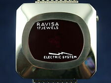 Vintage NOS Ravisa Electric System Jump Hour Digital Watch 1970s Swiss LED