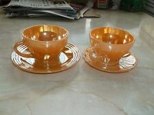 Vintage 4 piece Fire King Peach Lustre Swirl Espresso Coffee Demi Cups & Saucers