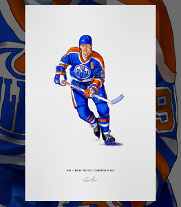 Wayne Gretzky Edmonton Oilers Hockey Illustrated Print Poster Art NHL
