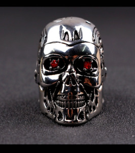 *NEW* TERMINATOR SKULL RING NOW WITH RED EYES!  NEW SIZES SALE!SHIPS FROM USA