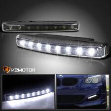 2X 8 LED 6000K White DRL Fog Running Lights Bumper Driving Lamps Black