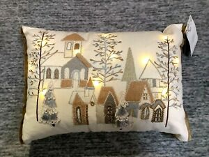 """Pier 1 Imports LED Light-Up Christmas Village Pillow 18"""" x 12"""" Beige Green NWT"""
