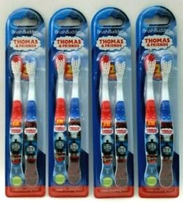 New 4 X 2 PK Thomas & Friends Set Soft Toothbrushes Brush Buddies Red + Blue
