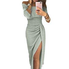 Elegant Fashion Women Sexy Boat Neck Glitter Dress Evening Party Formal Dress