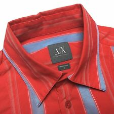 ARMANI EXCHANGE Mens S Red Blue Striped Cotton Viscose Long Sleeve Shirt