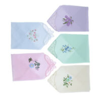 5pcs Women 100% Cotton Handkerchiefs Assorted Floral Embroidered Gift