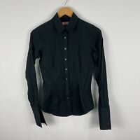 Thomas Pink Womens Button Shirt Top 6 Black Long Sleeve Collared French Cuff