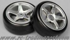5 Star Chrome Wheels With Hard Drifting Tires 1/10th Scale 26mm (2pc) RC Drift