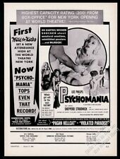 1964 Violent Midnight Psychomania movie release Jean Hale photo trade print ad