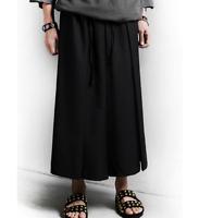 Mens Black Japanese Samurai Boho Harem Hakama Linen Dress Pants Trousers Maxi