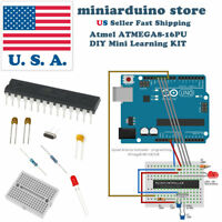ATmega8-16pu DIY arduino Mini Learning Kit 22pF 100nF 16MHz crystal breadboard