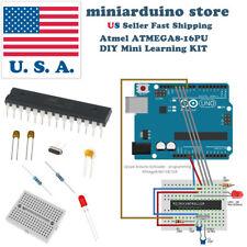 ATmega8-16pu DIY arduino Mini Learning Kit 22pF 100nF 16MHz crystal breadboard