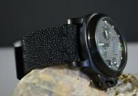 MA WATCH STRAP 26 24 22 MM GENUINE STINGRAY SKIN BLACK HANDMADE FOR PANERAI ETC