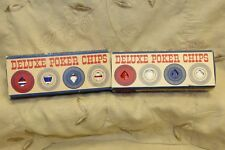 Lot of Two Vintage Deluxe Poker Chips  100 in each box. Easy Stacking Washable