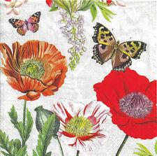 Lot de 2 Serviettes en papier Coquelicots Papillon Decoupage Collage Decopatch