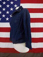 Coldwater Creek Jacket Blazer Navy Blue/Black Geometric Designs Women's Size P8