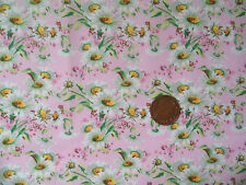 WHITE DAISIES ON PINK- 100% COTTON FABRIC F.Q.'S