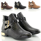 WOMENS LADIES FLAT LOW HEEL BUCKLE CUT OUT CHELSEA ANKLE BOOTS SHOES SIZE 3-8