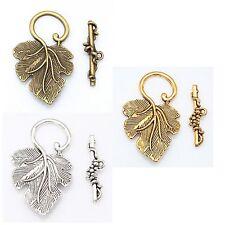 10sets silver/golden New Tibetan Silver Jewelry Mackinig grape leaf toggle clasp