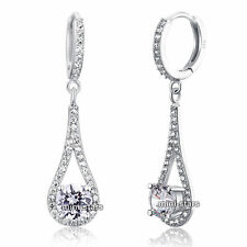 Solid 925 Sterling Silver 1 Carat Round Cut Bridal Wedding Earrings FE8019