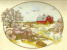 """Vintage Paragon """"Yesteryear"""" Country Farm Barn Buggy Crewel Embroidery Kit"""
