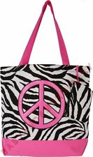 Tote Bag Purse Shopper Zebra Pink Peace Sign
