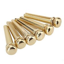 Musiclily 6Pcs Gold Pre Slotted Brass Metal Acoustic Guitar Bridge End Pin New