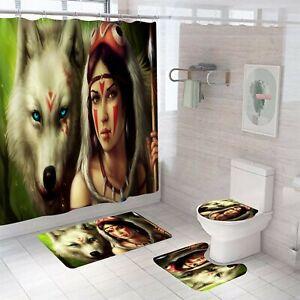 Woman Wolf Shower Curtain Bathroom Rug Set Bath Mat Non-Slip Toilet Lid Cover