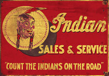 INDIAN SALES AND SERVICE ADVERTISING METAL SIGN