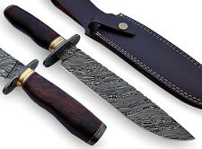 AishaTech Damascus Steel Fixed Blade Hunting Knife & Double Bolster Wood Handle