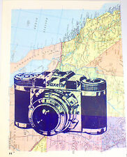 Art N Wordz Paxette Camera On Original Atlas Sheet Pop Art Wall/Desk Poster