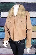 New Ashley Stewart 2X Brown Crop Fur Collar 100% Suede Leather Jacket Coat Plus