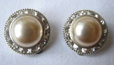 Vintage Silver Tone Faux Pearl Diamante Round Clip On Earrings