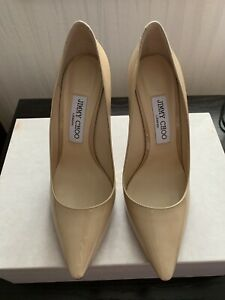 New JIMMY CHOO Romy 100 Patent Leather Pointed Pumps Nude Womens Size 38