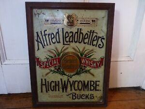 Scarce Antique Tinplate Advertising Sign Alfred Leadbetters Glenlivet Whisky