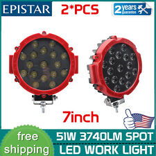 2X 7inch 51W Led Work Lights Offroad Bumper Red Pods Round Tractor ATV 4WD SUV