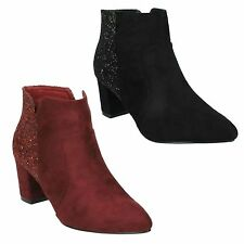 LADIES ANNE MICHELLE GLITTER POINTED BLOCK HEEL PARTY ANKLE BOOTS SHOES F50690