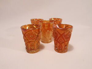 Set of (5) VTG Orange Irridescent Carnival Glass Drinking Glasses Tumblers