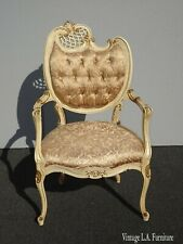 Vintage French Provincial Louis XVI Rococo Off White Heart Tufted Chair #1