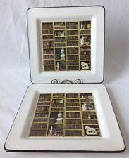 "2 Brunelli Square Dinner Plates Classic Italian Library Books Sculptures 10.25"""