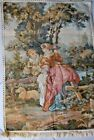 """1960s VINTAGE FRENCH cotton TAPESTRY  Romantic SCENE 28"""" H"""