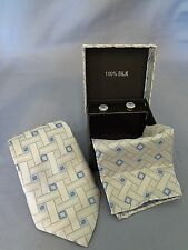 100% SILK  SOFT BLUE & LITE GRAY 3 PIECE NECK TIE SET BRAND NEW in GIFT BOX