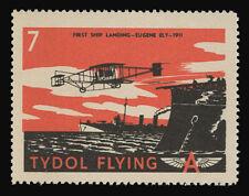 "TYDOL FLYING ""A"" POSTER STAMPS OF 1940 - #7, FIRST SHIP LANDING, EUGENE ELY"