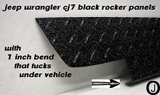 "JEEP CJ7 Wrangler 6"" black Diamond plate Rocker Panels with / 90° 1 inch Bend"