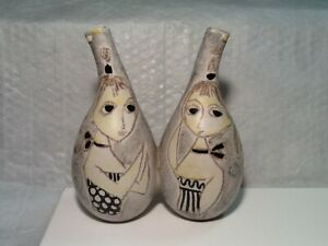 Vintage MCM Italian Pottery MARCELLO FANTONI RAYMOR DOUBLE CRUET OIL/VINEGAR SET