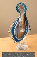 MID CENTURY MODERN BLUE GLASS FISH SCULPTURE! VTG MURANO VENETIAN ART 50'S BLOWN
